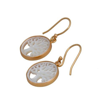 Alchemia Mother Of Pearl Tree Of Life Drop Earrings