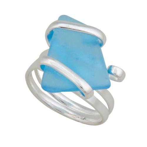 Alpaca Recycled Glass Freeform Rings - Aqua | Charles Albert Jewelry