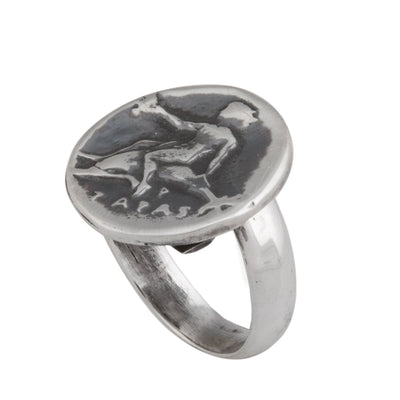 Sterling Silver Boy on Dolphin Greek Coin Ring