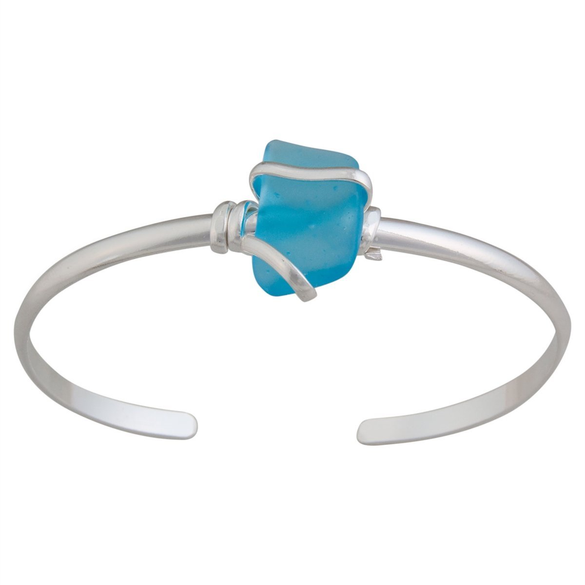 Alpaca Recycled Glass Mini Cuff - Aqua | Charles Albert Jewelry