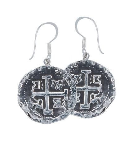 Sterling Silver Replica Treasure Coin Drop Earrings | Charles Albert Jewelry