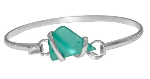 Alpaca Recycled Glass Freeform Bangles - Mint | Charles Albert Jewelry