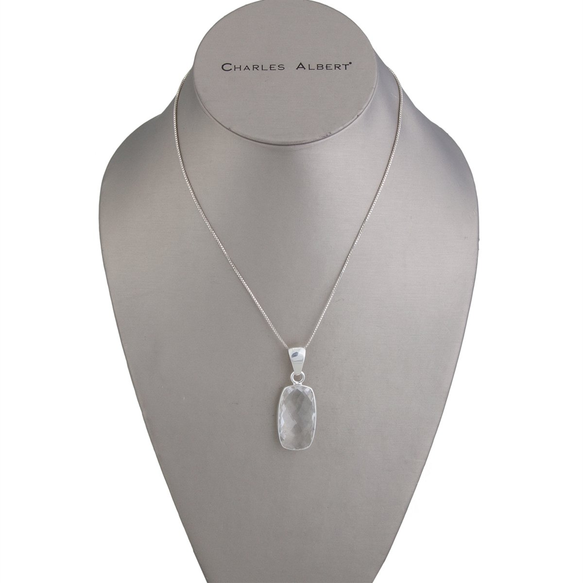 Sterling Silver Rectangle Clear Quartz Pendant | Charles Albert Jewelry