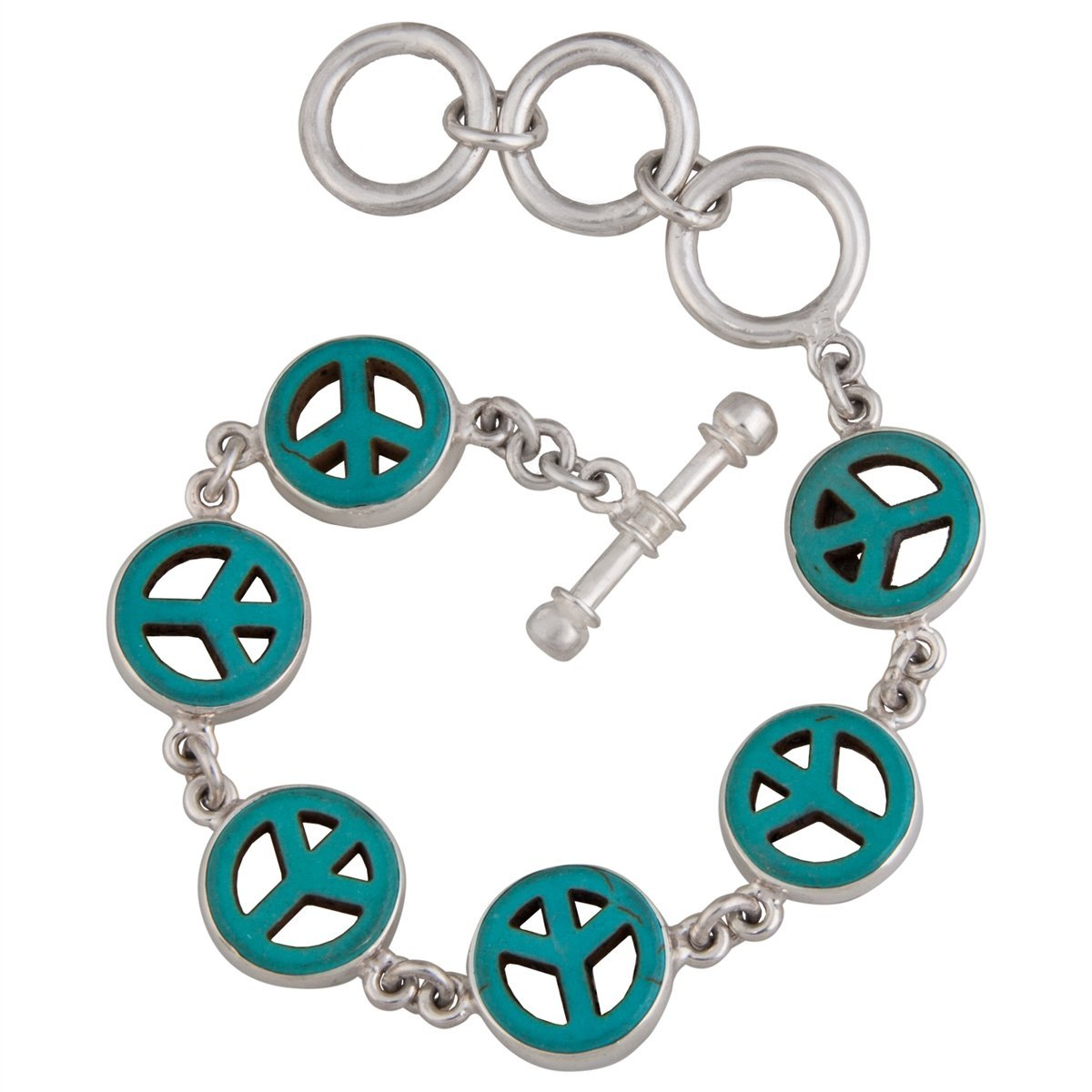 Sterling Silver Howlite Peace Sign Bracelet | Charles Albert Jewelry
