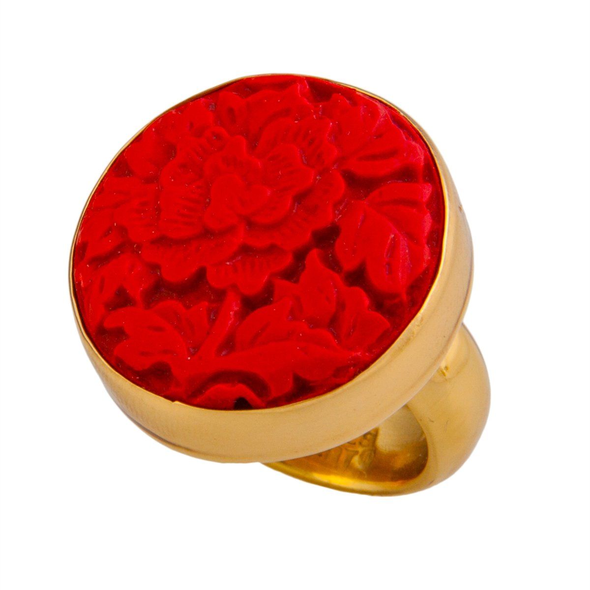 Alchemia Flower Cinnabar Round Adjustable Ring | Charles Albert Jewelry