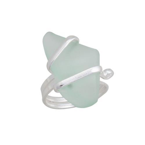 Alpaca Recycled Glass Freeform Rings - Seafoam Green | Charles Albert Jewelry