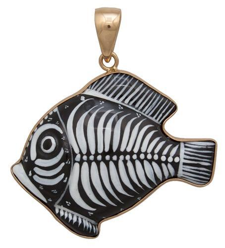 Alchemia Hand Painted Ceramic Fish Pendant | Charles Albert Jewelry