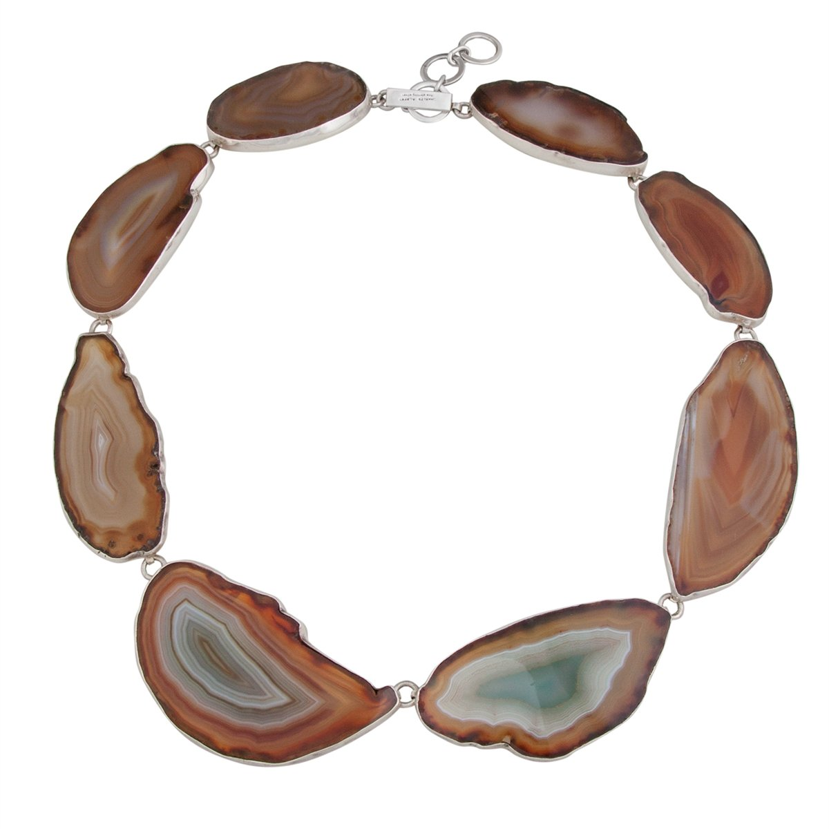 Sterling Silver Nude Agate Slice Necklace | Charles Albert Jewelry