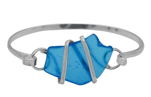 Alpaca Recycled Glass Freeform Bangles - Blue | Charles Albert Jewelry