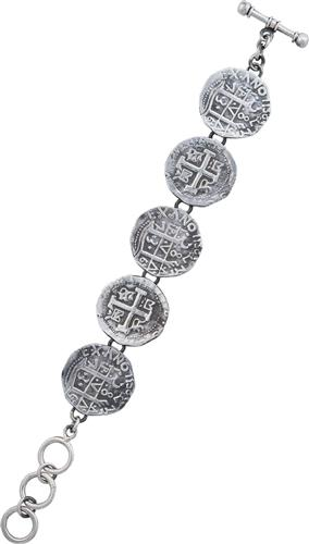 Sterling Silver Replica Treasure Coin Bracelet | Charles Albert Jewelry
