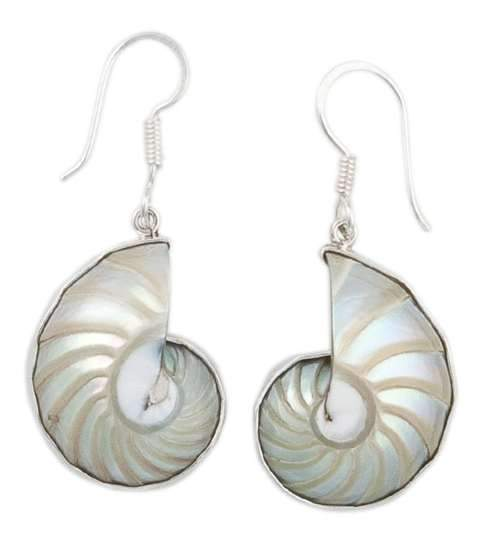 Sterling Silver Nautilus Shell Drop Earrings