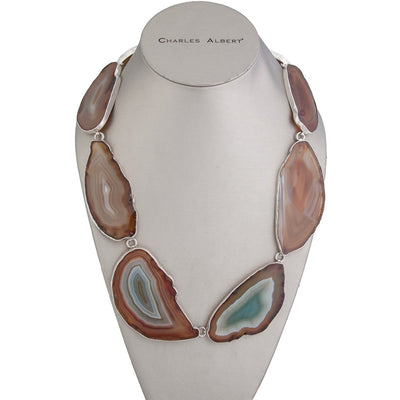 sterling-silver-agate-slice-necklace - 1 - Charles Albert Inc