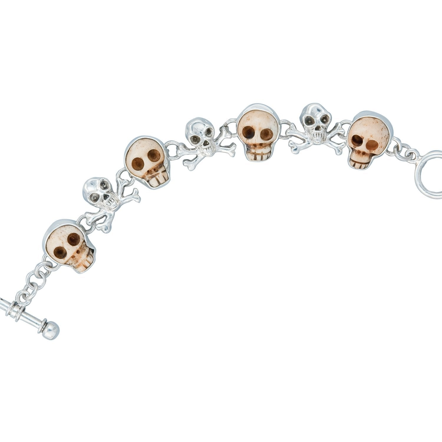 Sterling Silver House of the Soul Bone Skull Bracelet | Charles Albert Jewelry