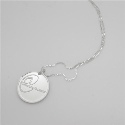 "Sterling Silver Charles Albert Coin Pendant with 18"" Chain 