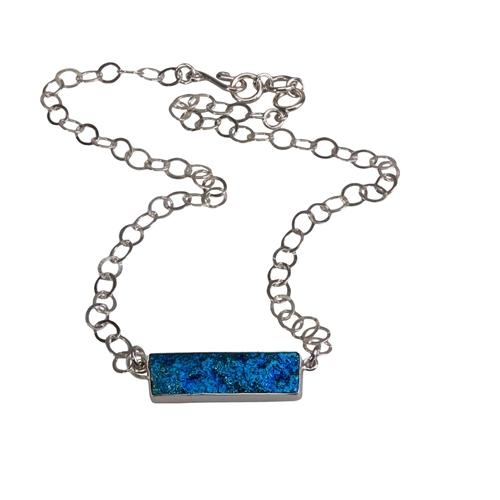 Sterling Silver Cobalt Treated Quartz Necklace