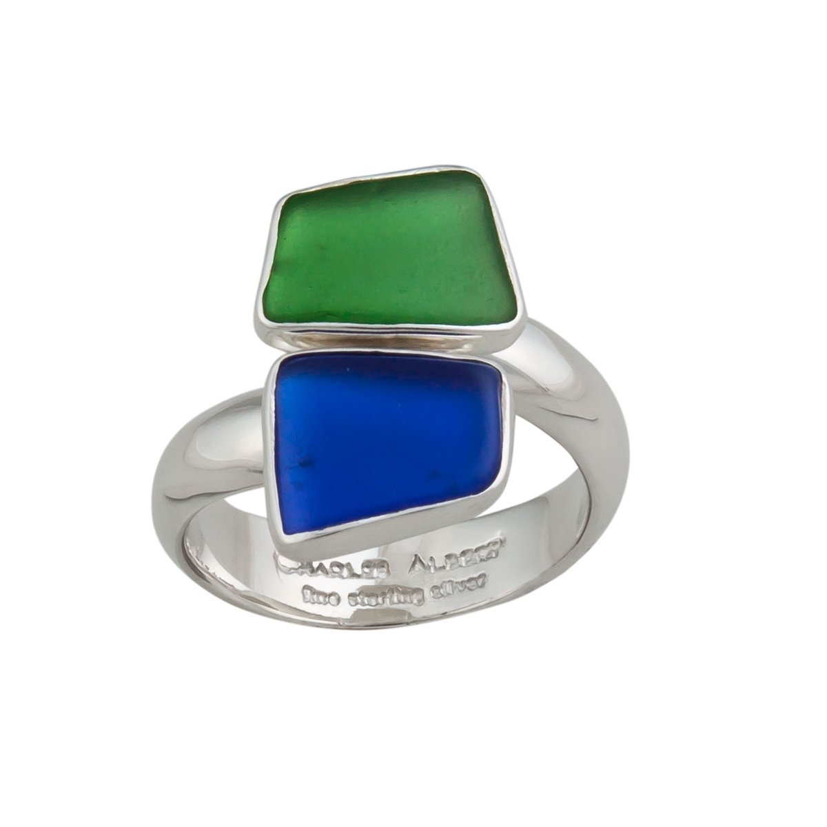 Sterling Silver Recycled Glass Bypass Adjustable Ring