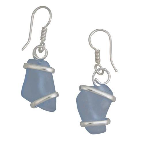 Alpaca Recycled Glass Freeform Earrings - Carolina Blue