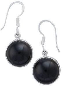 Sterling Silver Round Black Onyx Drop Earrings | Charles Albert Jewelry