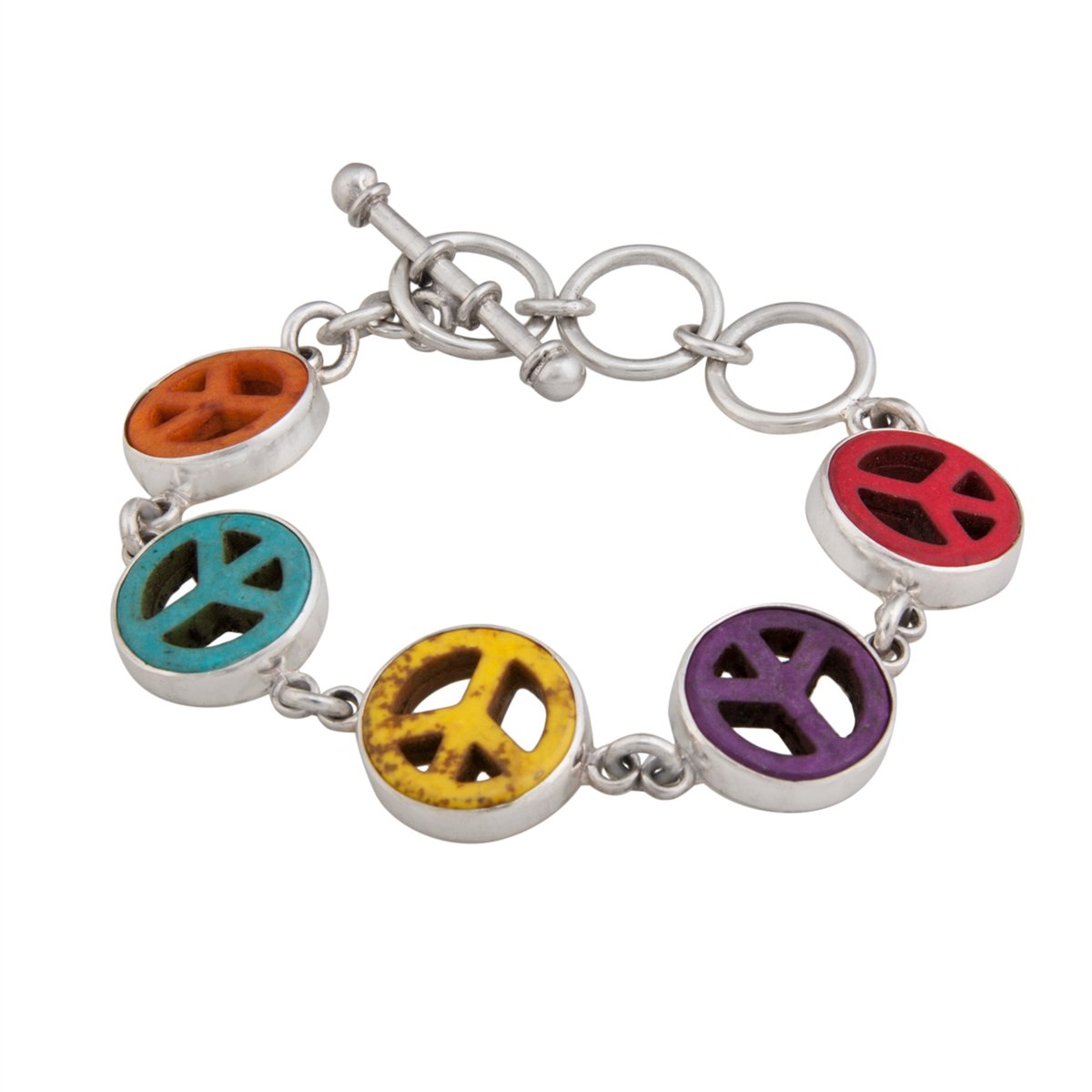 Sterling Silver Multi- Color Peace Sign Bracelet | Charles Albert Jewelry