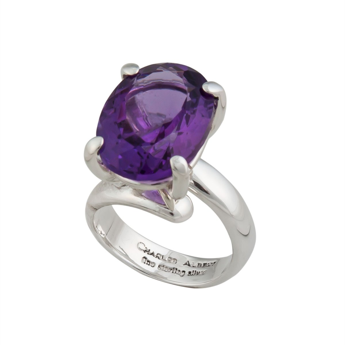 Sterling Silver Oval Amethyst Prong Set Adjustable Ring | Charles Albert Jewelry