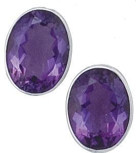 Sterling Silver Oval Amethyst Clip Earrings