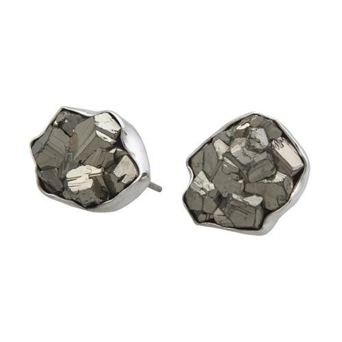 Sterling Silver Pyrite Post Earrings