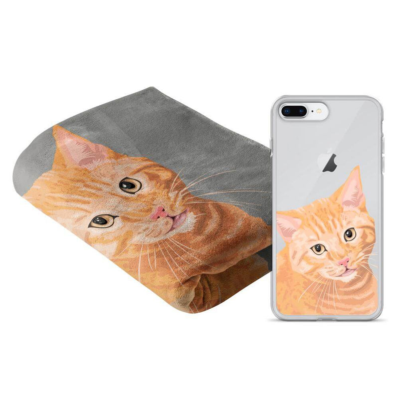 Barkly | Custom phone case & blanket with cat face