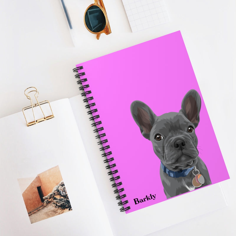 Barkly - Custom pet spiral notebook with your pet portrait