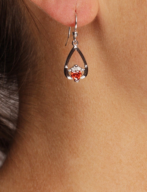 Claddagh January Birthstone Earrings