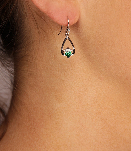 Claddagh May Birthstone Earrings