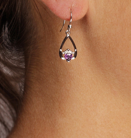 Claddagh February Birthstone Earrings