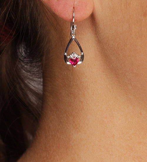 Claddagh July Birthstone Earrings