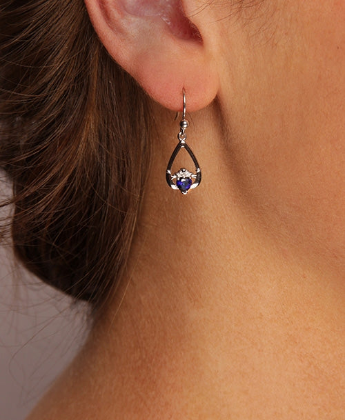 Claddagh September Birthstone Earrings