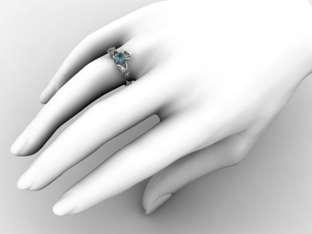 Claddagh Ring SUE-AQMAR-WHITE on hand