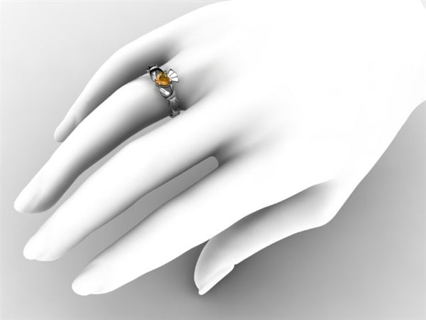 Claddagh Ring SUE-CITR-WHITE on hand