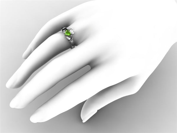 Claddagh Ring SUE-PER-WHITE on hand