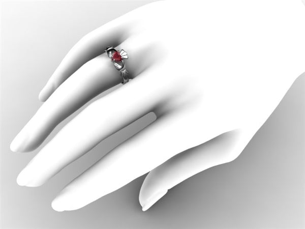 Claddagh Ring SUE-RUBY-WHITE on hand