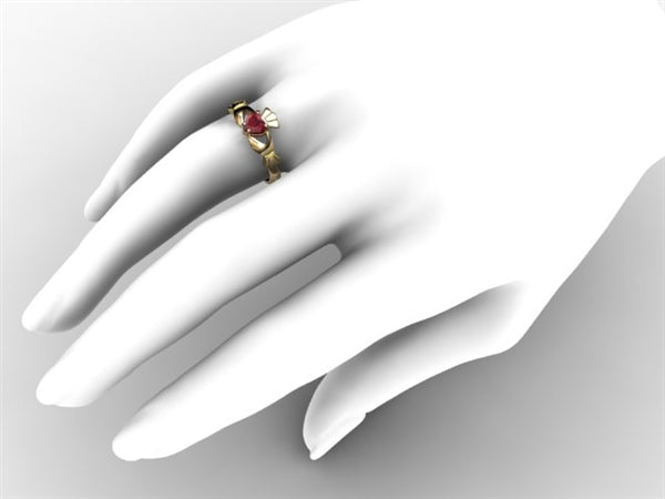 Claddagh Ring SUE-RUBY-YELLOW on hand