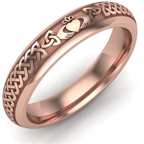 4 mm wide 14K Rose Gold Claddagh Wedding Ring