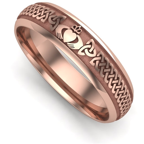 14K Rose Gold LIGHT WEIGHT Claddagh Wedding Ring UCL1-14R5LIGHT