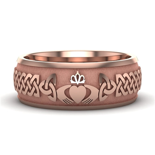 Rose Gold Claddagh Wedding Ring UCL1-14R8M