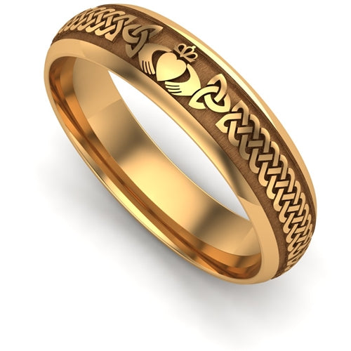 Yellow Gold LIGHT WEIGHT Claddagh Wedding Ring