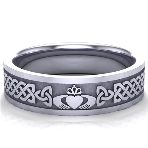 Claddagh Wedding Ring UCL1-PLAT6MFLAT