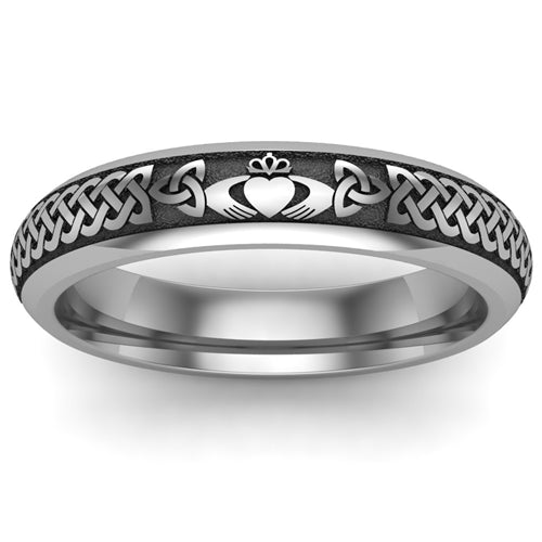 Titanium Claddagh Wedding Ring UCL1-TITAN4M