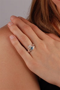 March Birthstone Claddagh Ring ZOOM