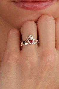 JUNE Birthstone Claddagh Ring ZOOM