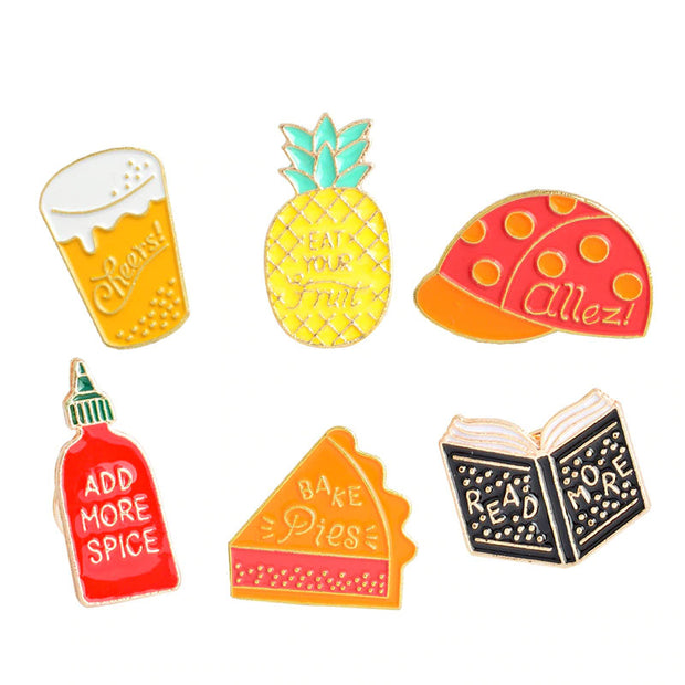 Food Enamel Pin Set