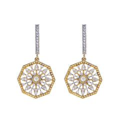 Diamond Octagon Granule Medallion Earrings