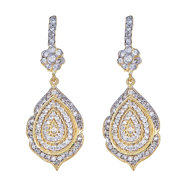 Diamond Pear Flower Earrings