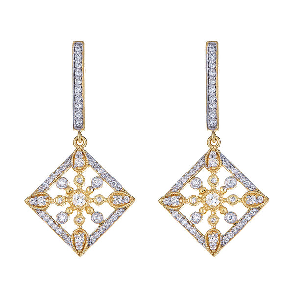 Diamond Rhombus Medallion Earrings